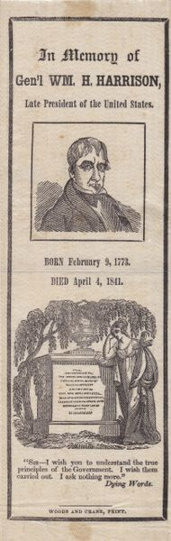 William H. Harrison Mourning Ribbon