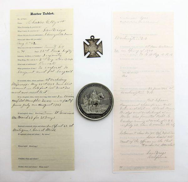 Silver 19th Corps Badge Identified to Sergeant Charles Wyatt, Co H, 22nd Iowa Volunteers