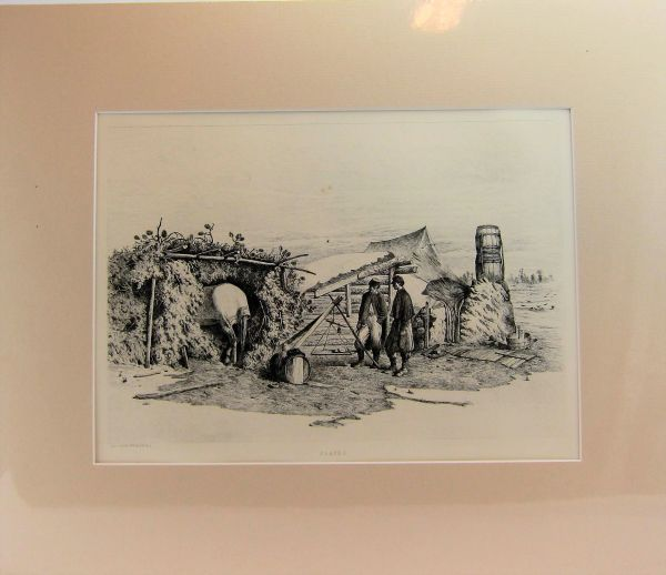 Edwin Forbes Engraving Plate No. 2, The Commissary's Quarters in Winter Camp