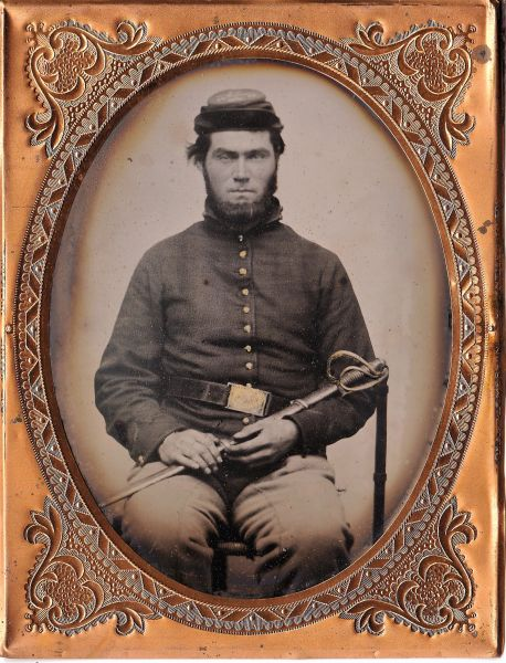 1/4 Plate Tintype of Armed Cavalryman