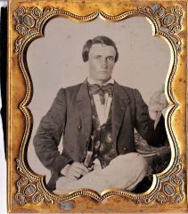 Ambrotype Holding a Sheffield Bowie Knife