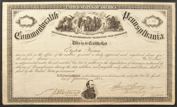 War Damages - United States of America, Common Wealth of Pennsylvania Certificate of Adjudicated Claim for War Damages