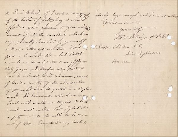 Letter from Philippe d' Orleans - The Count De Paris To Porter Farley Captain in the 140th NY. Vols Regarding the Battle of Gettysburg