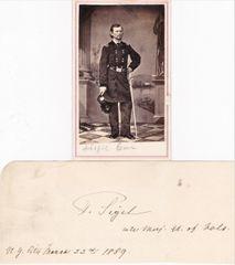General Franz Sigel Original Signature with Rank and CDV Photograph