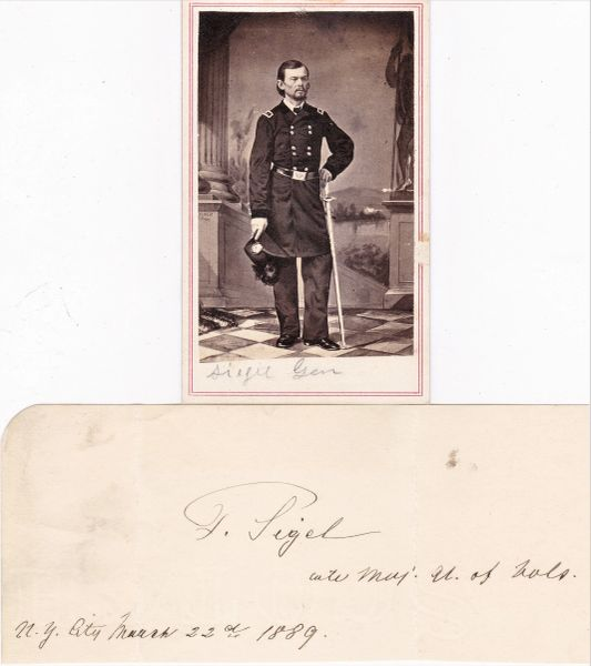 General Franz Sigel Original Signature with Rank and CDV Photograph