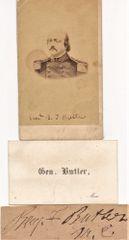 General Benjamin Butler CDV Photograph, Business Card, and Autograph