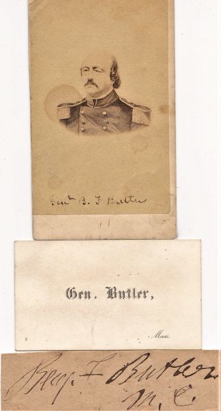 General Benjamin Butler CDV Photograph, Business Card, and Autograph