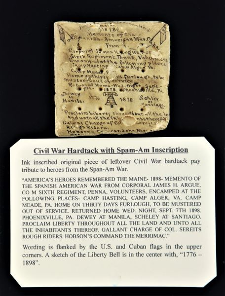Civil War Hardtack with Span-Am Inscription