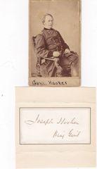 Famed Gettysburg General Joseph Hooker Original signature with rank and CDV photograph