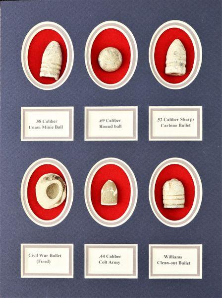 Civil War Bullets in Display
