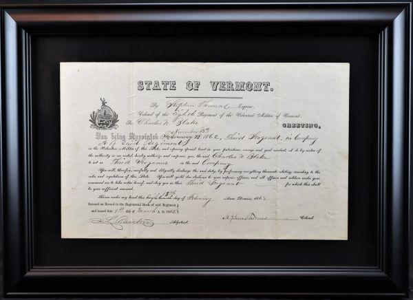 State of Vermont Militia Appointment of Charles W. Blake of the 8th Vermont