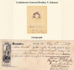 Confederate General Bradley T. Johnson Autograph