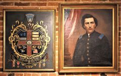Oil Painting And Oil Escutcheon Of Colonel Austin W. Hogle Of 76th Illinois Volunteer Infantry