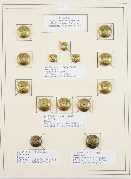 Major Lyman Whiton's US Infantry Buttons