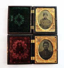 Pair of Identified Ambrotypes of Frank A. Monroe 10th Massachusetts Light Artillery