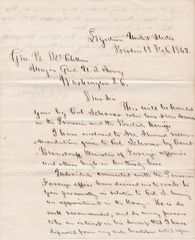 Letter of Recommendation Written to General George B. McClellan by Norman B. Judd / SOLD