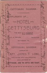 Gettysburg Souvenir by James T. Long, Leaves fromthe Valley of Death - Fought on July 3rd Battle of gettysburg 1863 Near Monument of the 96th Regiment