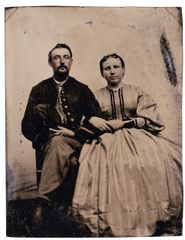 1/4 Plate Tintype of Soldier and Wife