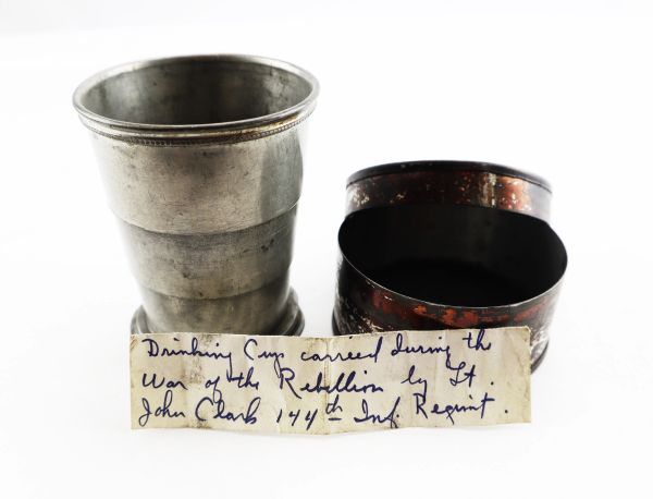 Identified Civil War Collapsible Cup with Case Lieutenant John Clark, 144th New York