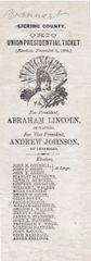 Presidential Election Ballot Cast November 6, 1864