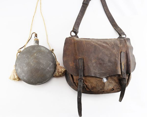 Confederate Officer's Accoutrements, Leather Haversack & Tin Drum Canteen / On-hold