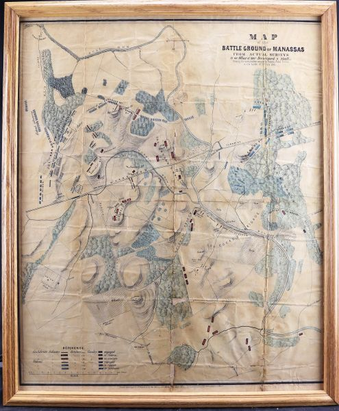 Rare Wartime Map of the Battlefield of Bull Run