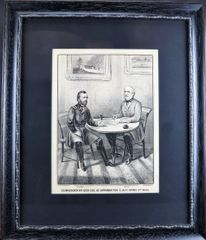 "Currier & Ives Lithograph ""SURRENDER OF GEN'l LEE, AT APPOMATTOX C.H. Va. APRIL 9th 1865""."