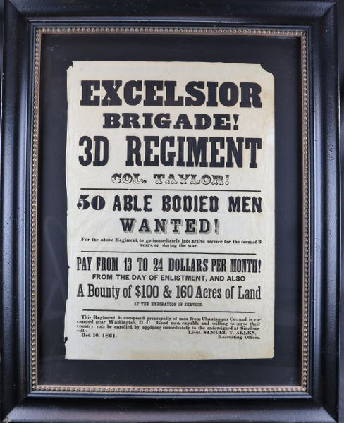 Early Civil War Recruiting Broadside For the 72nd New York Infantry - 3rd Regiment of Excelsior Brigade