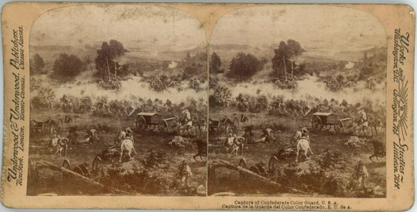 Gettysburg Battlefield Stereo View Capture of Confederate Color Guard