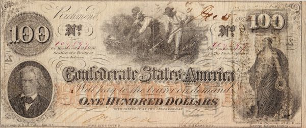 $100 The Confederate States of America Note Signed by Confederate Captain