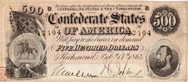 Confederate $500 Bill - Stonewall Jackson Note