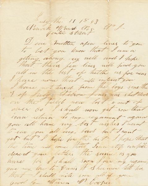 Letter Written by Warren W. Cooper From Hospital After Being Wounded at the Battle of Gettysburg / On-hold