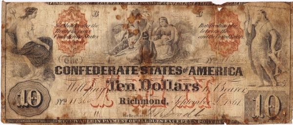 Confederate Currency $10 Dollar Indian Family Note