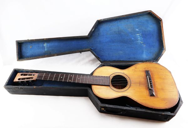 Civil War Guitar with Original Coffin Case / Sold