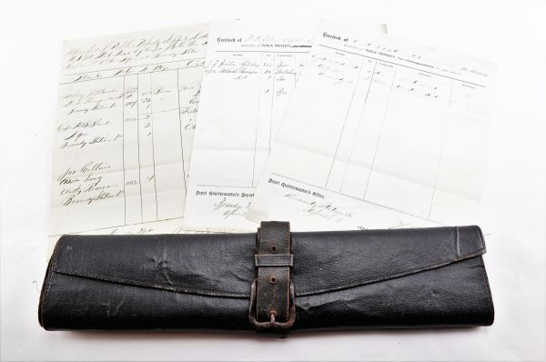 Identified Leather Document Valise, Colonel Perley Peabody Pitkin 2nd Vermont Infantry / Sold
