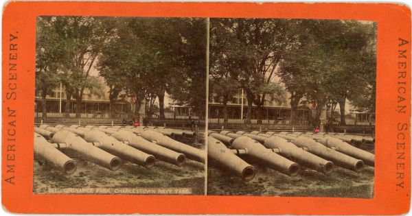 Stereoview of Cannons Ordnance Park, Charlestown Navy Yard