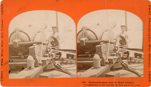 Stereoview Hundred-pounder Gun on Rebel Steamer