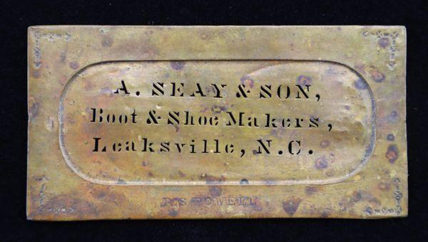 Original Brass Stencil of Confederate Shoe Supplier