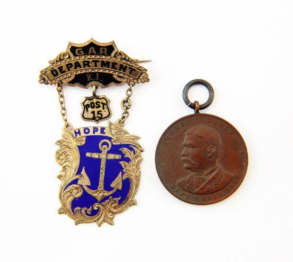 Pair of Rhode Island G.A.R. Badges