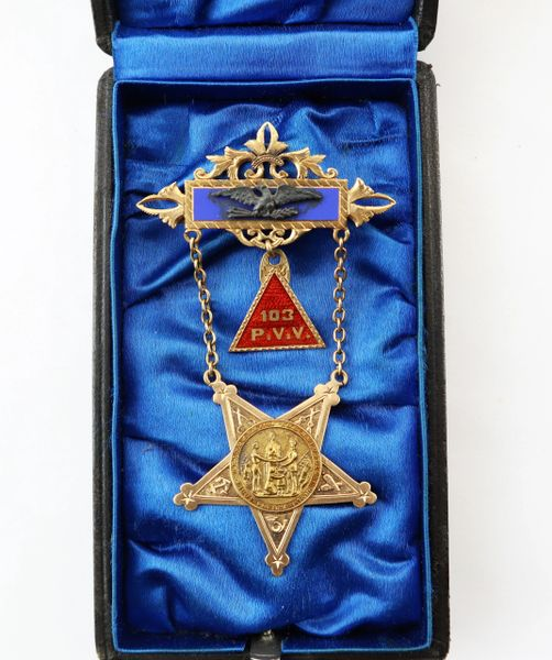 Identified G.A.R. Membership Badge Presented to POW David M. Spence, PA 103rd Infantry