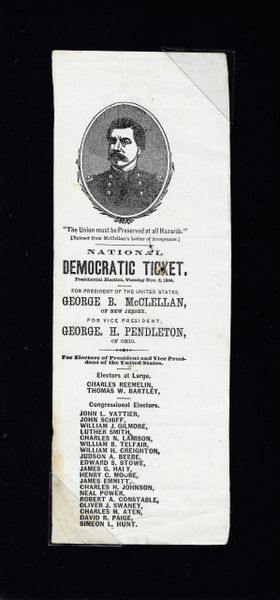 Presidential Electoral Democratic ballot for George McClellan and George Pendleton