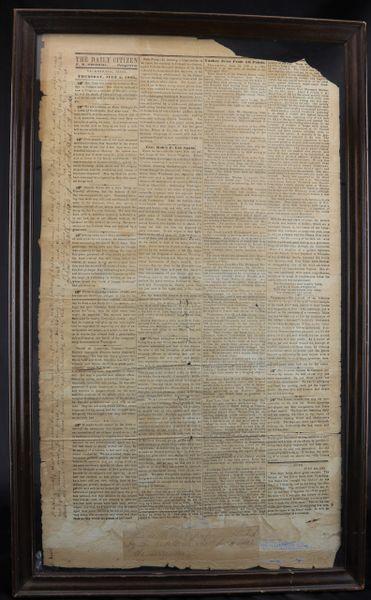 The Daily Citizen Vicksburg, Thursday, July 2, 1863. Vicksburg Wallpaper Newspaper / Sold