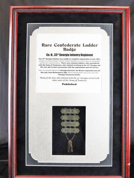 Rare Confederate Ladder Badge, Company N. 33rd Georgia Infantry Regiment
