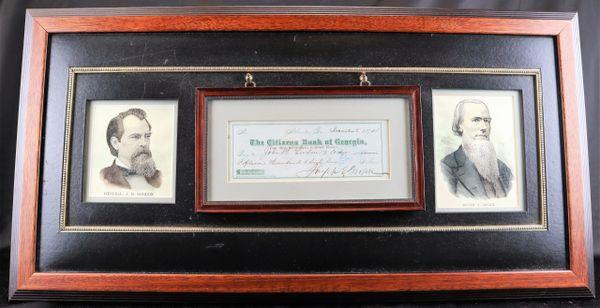 Rare Georgia Governor Joseph E. Brown and Confederate General John B. Gordon Autographed Check
