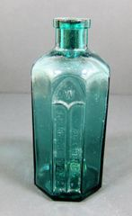 Rumford Chemical Works 8-Sided Teal Blue Green Bottle.