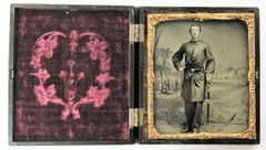 Naval Officer with Painted Patriotic Backdrop Sixth Plate Tintype