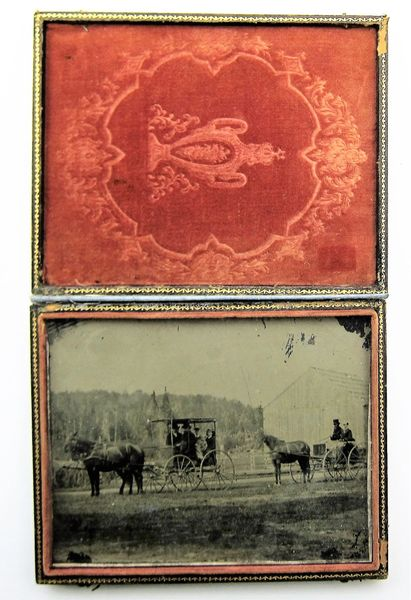 Civilians on Horse Drawn Carriages Quarter Plate Tintype