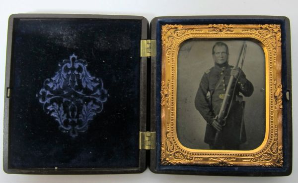 Infantry Officer Holding Musket Sixth Plate Tintype