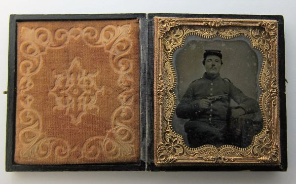 """Soldier with Model 1862 Colt """"Police"""" Revolver Ambrotype"""