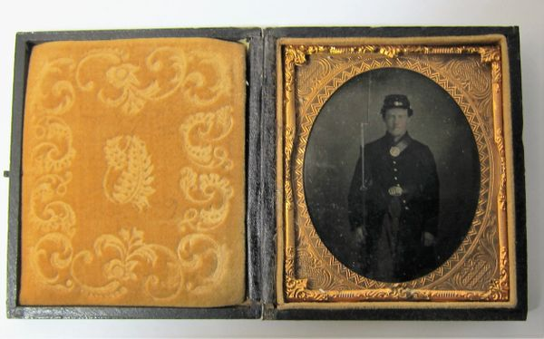 Soldier with Model 1816 Musket Sixth Plate Tintype